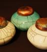 Pots à gingembre raku, couvercle coiffant cuivré